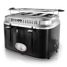 4slice Toasters Retro Style 4 Slice Toaster Black U0026 Stainless Steel Russell Hobbs