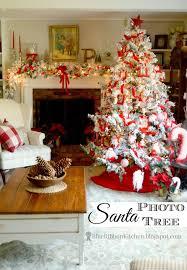 blue ribbon kitchen santa photo tree