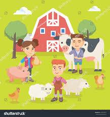 little caucasian children playing farm animals stock vector