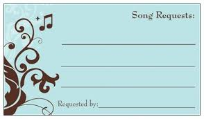 wedding song request cards ordered free business cards from vp weddings style and decor