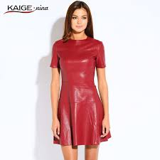 leather dress hot sale women fashion leather dress a line o neck black dress