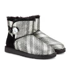 womens ugg boots bailey button sale ugg mini bailey button bling shearling lined boots in black lyst