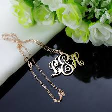 large monogram necklace personalized gold vine font initial monogram necklace