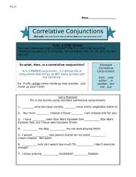 this worksheet explains correlative conjunctions with practice