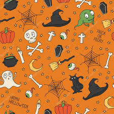 halloween background ghosts happy halloween seamless pattern with pumpkins skulls cats