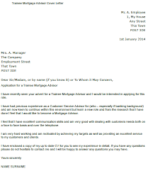 trainee mortgage advisor cover letter example u2013 cover letters and