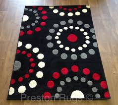 Modern Patterned Rugs by Rug Runner Modern Spots Circles Black Red Silver Grey Cream Small