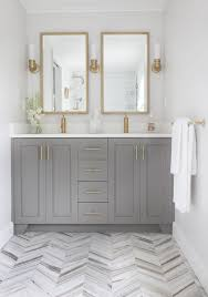 Grey Bathroom Fixtures Harmonizing Herringbone Floors Transitional Style Herringbone