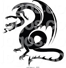 royalty free vector of a black and white dragon logo by vector
