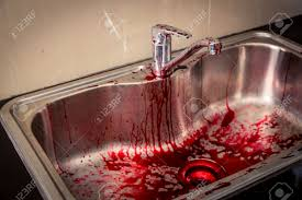 kitchen sink with blood for halloween filtered image processed