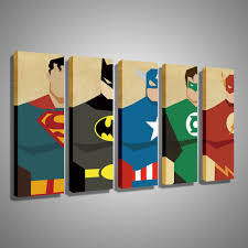 Superman Bedroom Decor by Oil Painting Canvas Super Hero Superman Batman Cartoon Modular