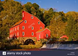 New Jersey landscapes images Colorful autumn farm landscape of the historic red mill vintage jpg