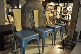 Tolix Bistro Chair Set Of 8 Blue And Vintage Industrial Tolix Chairs