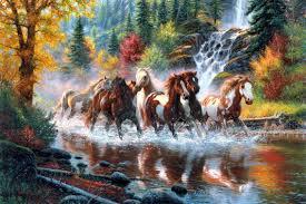 тварини шпалера 44159 коні водоспад ліс коні осінь річка