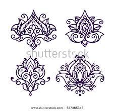 vector line illustration flower lotus flower stock vector