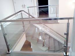 Glass Stair Rail by Modern House With Mounted Sideboard And Stainless Steel Stair