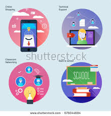 Material Design Ideas Set Material Design Concepts Icons Classroom Stock Vector