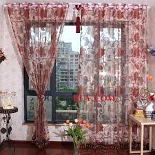 Floral Jacquard Curtains Red Sheer Curtains U2013 Teawing Co