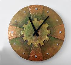 Copper Wall Decor by Original Painting Large Steampunk Wall Clock Unique Clock