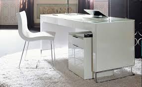 Modern Office Desk White White Gloss Desk Furniture Smart For 9 Lofihistyle