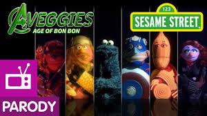 sesame street aveggies age bon bon avengers parody