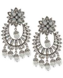 Ralph Lauren Chandelier Fashion Earrings Marchesa Silver Tone Crystal U0026 Imitation Pearl Chandelier Earrings