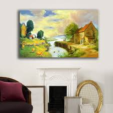painting artwork on wood 1pcs frameless idyllic rural scenery painting classical home hotel