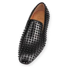 dandelion spikes flat black black leather men shoes christian