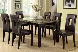 poundex f2093 f1051 faux marble top dining table and chairs 7 pc set