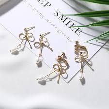 clip on earring korean bow clip earring without piercing ear clip on earrings