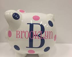 monogrammed piggy bank personalized piggy bank piggy bank children s piggy