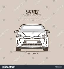 toyota stock symbol toyota yaris front view vector outline stock vector 617614622