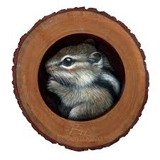 cute chipmunk in his burrow a fantastic piece of art to decorate