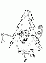 spongebob christmas tree coloring cartoon pages