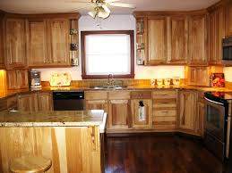 classy brown color hickory kitchen cabinets featuring rectangle