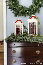christmas entry decor garland stockings u0026 berries on sutton place