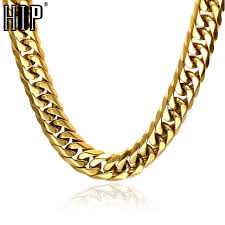 titanium curb chain necklace images Hip hop 24 inch 16mm gold filled heavy titanium stainless steel jpg