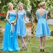 ocean blue short cap sleeves bridesmaid dresses sweetheart empire
