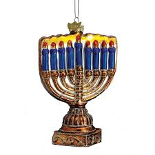 kurt adler 4 1 2 inch noble gems glass menorah