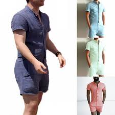 mens one jumpsuit fashion sleeve one shorts jumpsuit summer