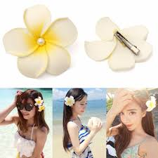 flower hair clip hawaiian plumeria foam flower hair clip floral pearl headpiece for