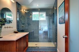 bathroom subway blue glass tile bathroom shower with glass door