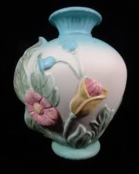 Hull Pottery Vase Hull Art Pottery Marked H 7 7 Tall Blue Magnolia Two Handled Vase