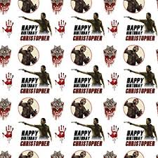 walking dead style personalised birthday gift wrap with 2 tags