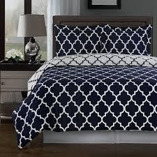 modern moroccan quatrefoil navy blue and white 3pc cotton duvet