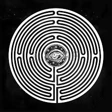 hand drawn maze labyrinth with eye in it vector illustration