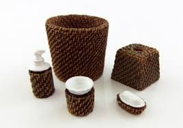 Bathroom Decor Set by Miniature Modern Wicker Bathroom Accessory Set Bin Soap Tumbler 5