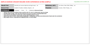 Professional Resume Free Template Diamond Grader Resumes Samples