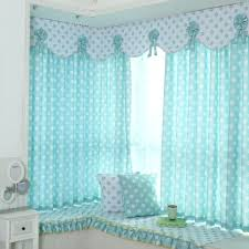 Baby Curtains Baby Blue And White Floral Print Polyester Bay Window