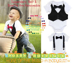 baby boy tuxedo black vest black bow tie newborn infant tux